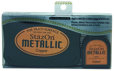 Buy a StazOn stamp pad and refill bottle of copper ink, which feature a permanent, quick-drying ink designed for non-porous surfaces.