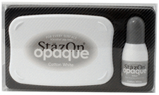 Buy a StazOn stamp pad and refill bottle of opaque white ink, which feature a permanent, quick-drying ink designed for non-porous surfaces.