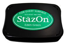Buy a eden green StazOn stamp pad, which features a permanent, quick-drying ink designed for non-porous surfaces.