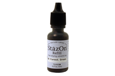 Buy a 1/2 oz. bottle of quick-drying, solvent-based refill ink for a forest green StazOn stamp pad.