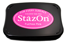 Buy a fuchsia StazOn stamp pad, which features a permanent, quick-drying ink designed for non-porous surfaces.