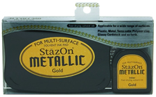 Buy a StazOn stamp pad and refill bottle of gold ink, which feature a permanent, quick-drying ink designed for non-porous surfaces.