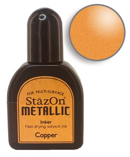Buy a 1/2 oz. bottle of quick-drying, solvent-based refill ink for a copper StazOn stamp pad.