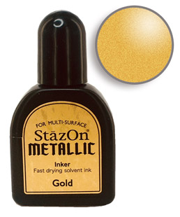 Buy a 1/2 oz. bottle of quick-drying, solvent-based refill ink for a gold StazOn stamp pad.