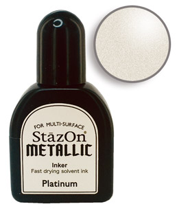 Buy a 1/2 oz. bottle of quick-drying, solvent-based refill ink for a platinum StazOn stamp pad.