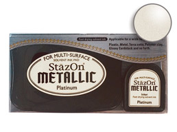 Buy a StazOn stamp pad and refill bottle of platinum ink, which feature a permanent, quick-drying ink designed for non-porous surfaces.