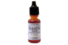 Buy a 1/2 oz. bottle of quick-drying, solvent-based refill ink for a mustard StazOn stamp pad.
