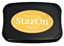 Buy a mustard StazOn stamp pad, which features a permanent, quick-drying ink designed for non-porous surfaces.