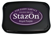 Buy a royal purple StazOn stamp pad, which features a permanent, quick-drying ink designed for non-porous surfaces.