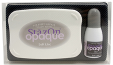 Buy a StazOn stamp pad and refill bottle of opaque soft lilac ink, which feature a permanent, quick-drying ink designed for non-porous surfaces.