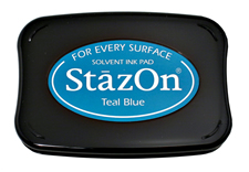 StazOn Teal Blue Ink - Stamp pad