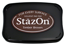 Buy a brown StazOn stamp pad, which features a permanent, quick-drying ink designed for non-porous surfaces.
