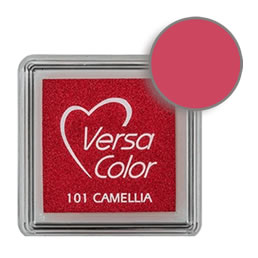 Purchase a vibrant and creamy camellia Versacolor ink pad. Over 70 colors available!  Non-toxic, child-safe, acid free, water-soluble pigment ink.  Measures 15/16 inches by 15/16 inches.