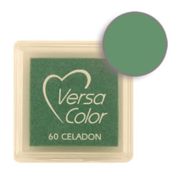 Purchase a vibrant and creamy celadon Versacolor ink pad. Over 70 colors available!  Non-toxic, child-safe, acid free, water-soluble pigment ink.  Measures 15/16 inches by 15/16 inches.