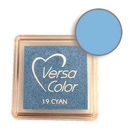 Purchase a vibrant and creamy cyan Versacolor ink pad. Over 70 colors available!  Non-toxic, child-safe, acid free, water-soluble pigment ink.  Measures 15/16 inches by 15/16 inches.