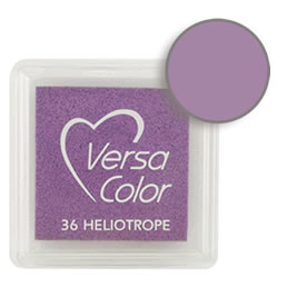 Purchase a vibrant and creamy heliotrope Versacolor ink pad. Over 70 colors available!  Non-toxic, child-safe, acid free, water-soluble pigment ink.  Measures 15/16 inches by 15/16 inches.