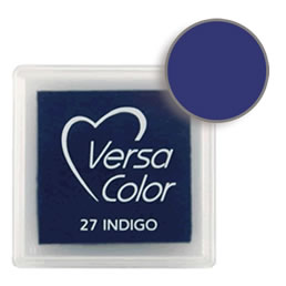 Purchase a vibrant and creamy indigo Versacolor ink pad. Over 70 colors available!  Non-toxic, child-safe, acid free, water-soluble pigment ink.  Measures 15/16 inches by 15/16 inches.