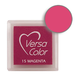 Purchase a vibrant and creamy magenta Versacolor ink pad. Over 70 colors available!  Non-toxic, child-safe, acid free, water-soluble pigment ink.  Measures 15/16 inches by 15/16 inches.