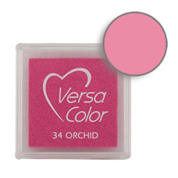 Purchase a vibrant orchid Versacolor ink pad. Over 70 colors available!  Non-toxic, child-safe, acid free, water-soluble pigment ink.  Measures 15/16 inches by 15/16 inches.