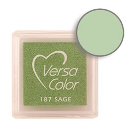 Purchase a vibrant and creamy sage Versacolor ink pad. Over 70 colors available!  Non-toxic, child-safe, acid free, water-soluble pigment ink.  Measures 15/16 inches by 15/16 inches.