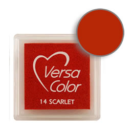 Purchase a vibrant and creamy scarlet Versacolor ink pad. Over 70 colors available!  Non-toxic, child-safe, acid free, water-soluble pigment ink.  Measures 15/16 inches by 15/16 inches.