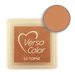 Purchase a vibrant and creamy topaz Versacolor ink pad. Over 70 colors available!  Non-toxic, child-safe, acid free, water-soluble pigment ink.  Measures 15/16 inches by 15/16 inches.