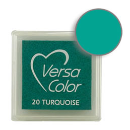 Purchase a vibrant and creamy turquoise Versacolor ink pad. Over 70 colors available!  Non-toxic, child-safe, acid free, water-soluble pigment ink.  Measures 15/16 inches by 15/16 inches.