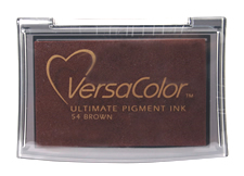 Purchase a vibrant brown Versacolor stamp pad.  Non-toxic, water-soluble pigment ink.  Measures 2 3/8 inches by 3 3/4 inches.