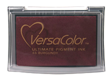 Purchase a vibrant burgundy Versacolor stamp pad.  Non-toxic, water-soluble pigment ink.  Measures 2 3/8 inches by 3 3/4 inches.