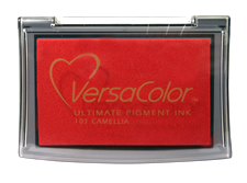 Purchase a vibrant camellia Versacolor stamp pad.  Non-toxic, water-soluble pigment ink.  Measures 2 3/8 inches by 3 3/4 inches.