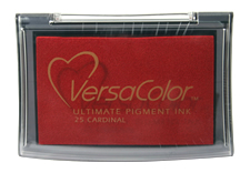Purchase a vibrant cardinal Versacolor stamp pad.  Non-toxic, water-soluble pigment ink.  Measures 2 3/8 inches by 3 3/4 inches.