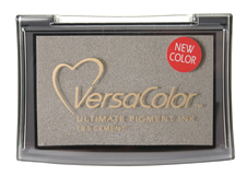 Purchase a vibrant cement Versacolor stamp pad.  Non-toxic, water-soluble pigment ink.  Measures 2 3/8 inches by 3 3/4 inches.