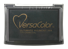 Purchase a vibrant charcoal Versacolor stamp pad.  Non-toxic, water-soluble pigment ink.  Measures 2 3/8 inches by 3 3/4 inches.