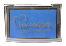 Purchase a vibrant cyan Versacolor stamp pad.  Non-toxic, water-soluble pigment ink.  Measures 2 3/8 inches by 3 3/4 inches.
