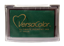 Purchase a vibrant green Versacolor stamp pad.  Non-toxic, water-soluble pigment ink.  Measures 2 3/8 inches by 3 3/4 inches.