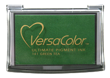 Purchase a vibrant green tea Versacolor stamp pad.  Non-toxic, water-soluble pigment ink.  Measures 2 3/8 inches by 3 3/4 inches.