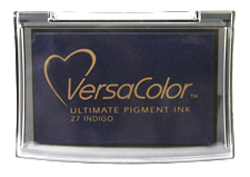 Purchase a vibrant indigo Versacolor stamp pad.  Non-toxic, water-soluble pigment ink.  Measures 2 3/8 inches by 3 3/4 inches.