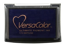 Purchase a vibrant neptune Versacolor stamp pad.  Non-toxic, water-soluble pigment ink.  Measures 2 3/8 inches by 3 3/4 inches.
