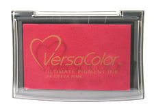 Purchase a vibrant opera pink Versacolor stamp pad.  Non-toxic, water-soluble pigment ink.  Measures 2 3/8 inches by 3 3/4 inches.