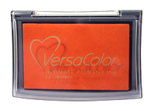 Purchase a vibrant orange Versacolor stamp pad.  Non-toxic, water-soluble pigment ink.  Measures 2 3/8 inches by 3 3/4 inches.