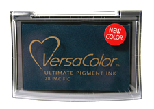 Purchase a vibrant pacific blue Versacolor stamp pad.  Non-toxic, water-soluble pigment ink.  Measures 2 3/8 inches by 3 3/4 inches.