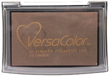 Purchase a vibrant umber Versacolor stamp pad.  Non-toxic, water-soluble pigment ink.  Measures 2 3/8 inches by 3 3/4 inches.