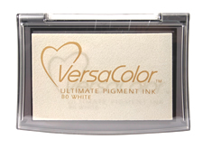 Purchase a vibrant white Versacolor stamp pad.  Non-toxic, water-soluble pigment ink.  Measures 2 3/8 inches by 3 3/4 inches.