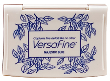 Purchase a vibrant majestic blue Versafine stamp pad.  Non-toxic, water-soluble pigment ink.  Measures 2 3/8 inches by 3 3/4 inches.